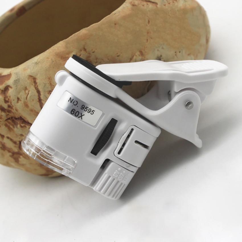 9595 W 60X Mini Microscope téléphone caméra Portable Clip avec LED bijoux antiquités Identification Loupe Loupe Loupe