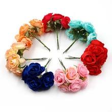 Bouquet de roses artificielles en soie 4cm 6 pièces/lot   Fleurs pour décoration de mariage maison, bricolage couronne pour Scrapbook, boîte cadeau, fleur
