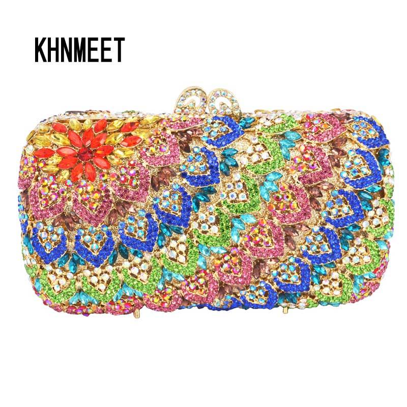 Bolso de banquete de diamante Azul con patrón de colgante, bolsos de noche de cristal, diamantes, bolso de fiesta para mujer, bolso de mano nupcial para boda SC149