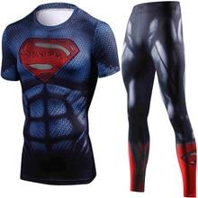 Été nouveau Marvel Superman Compression t-shirt ensemble hommes marque survêtement 3D exercice Fitness vêtements hommes ensembles vêtement de sport hommes
