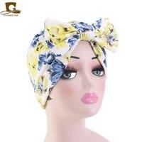 fashion women turban big bow print twist knot india chemo cap ladies muslim turban bandanas hair accessories