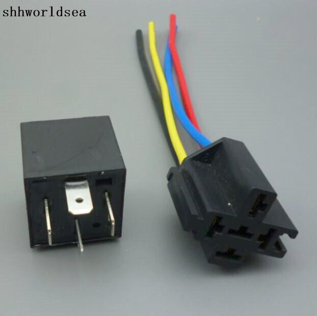 Shhworldsea 1 juego = 1 Uds relé + 1 Uds recién llegado 12V 12 voltios 40 a 4 pines zócalo para relé de automoción 40 Amp relé y arnés de cables