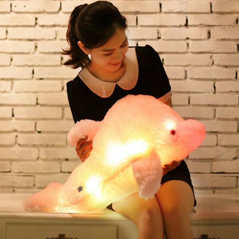 Juguete de felpa ligero Delfín de felpa de juguete Animal lindo relleno luz intermitente LED juguete que brilla en la oscuridad almohada chico s ToyGift para niña