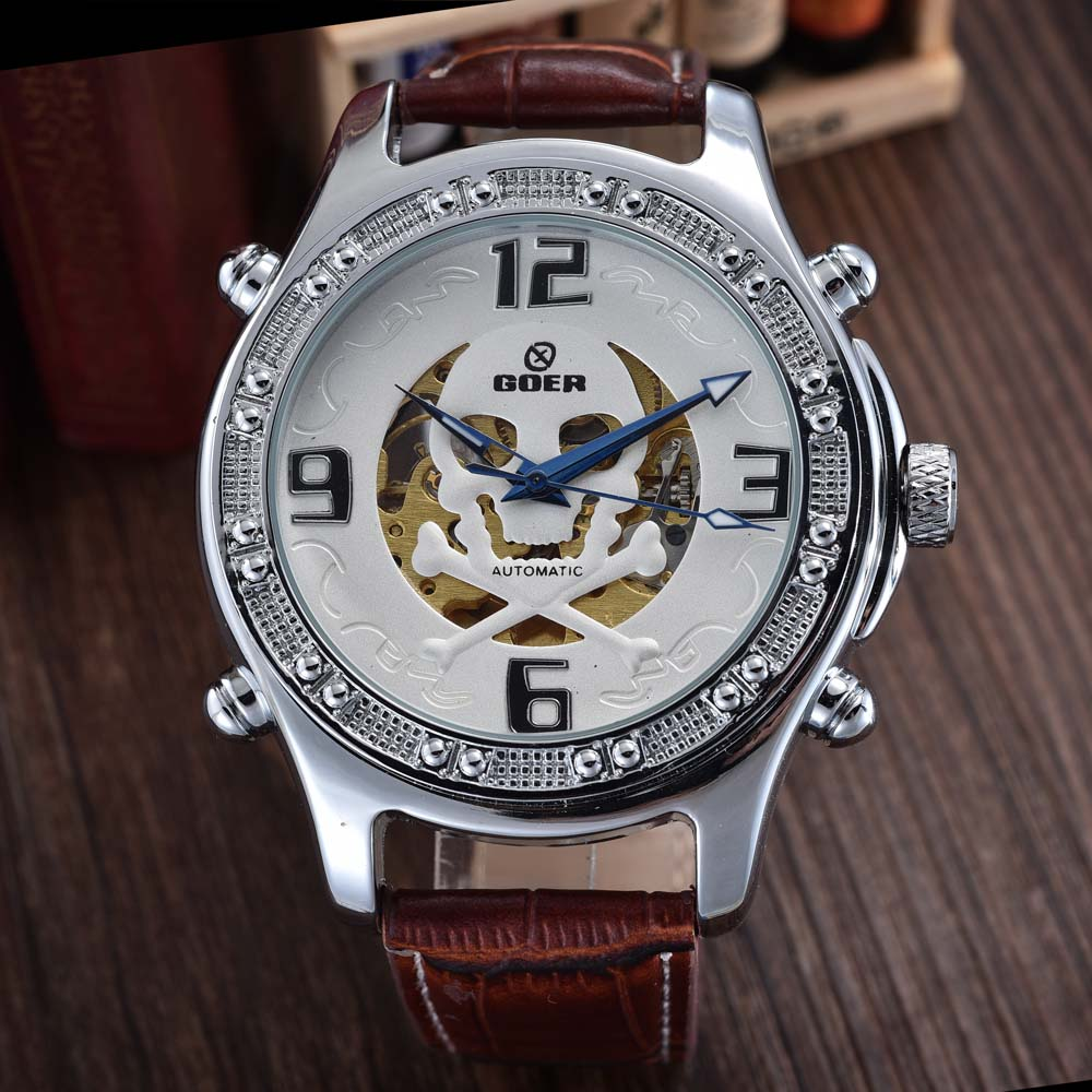 Top Brand Luxury Automatic Mechanical Skeleton Watches Fashion Casual Skull Watch PU Leather Men Wat