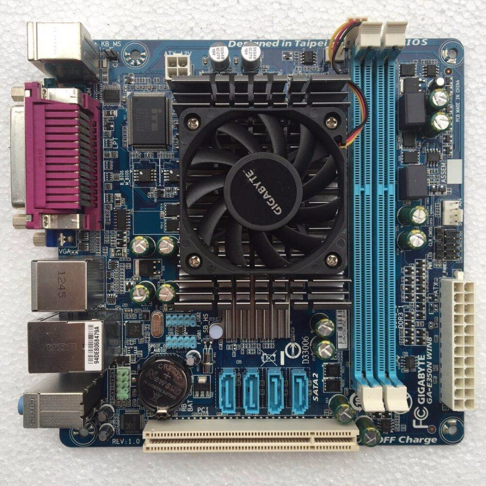 MINI-ITX 17*17 HTPC para Gigabyte GA-E350N E350N CPU de doble núcleo integrado DDR3 SATA2 USB 2,0