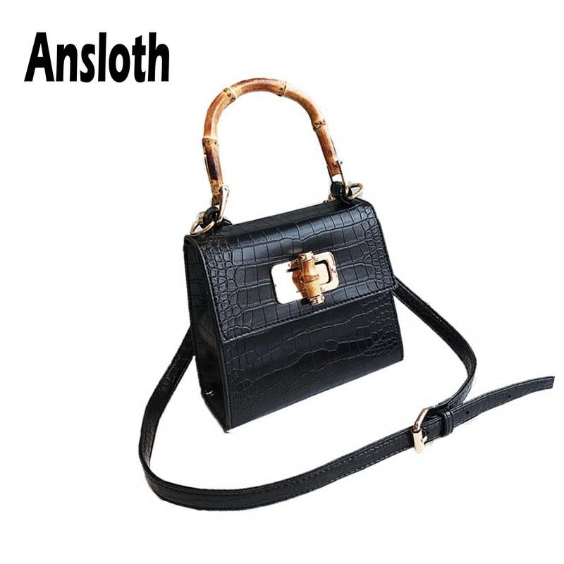 Ansloth Luxury Crocodile Pattern Bag For Women Wooden Handle Crossbody Bag Ladies Small Flap Bag Female Casual Handbag  HPS553