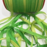 7mm100 real pure silk ribbons green variegated double face taffeta silk for embroidery and handcraft projectgift packing