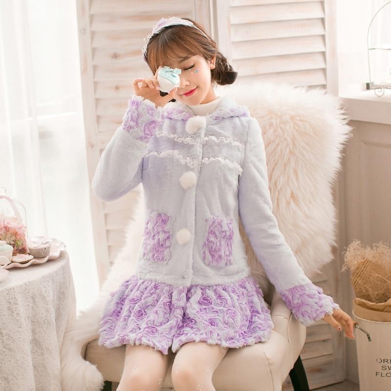 Princesa dulce purpl encantador abrigo de piel caramelo lluvia flor decoración bordado único breasted ball top diseño japonés C16CD6218