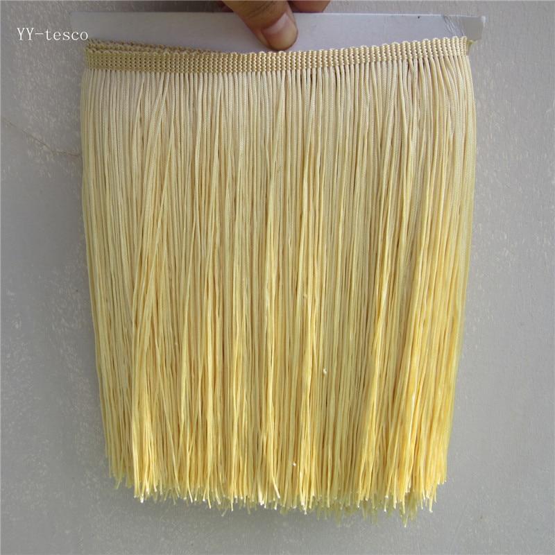 1 Yard/Lot 25CM Long Polyester Lace Tassel Fringe Beige yellow Lace Trim Ribbon Sew Latin Dress Garment Curtain DIY Accessories