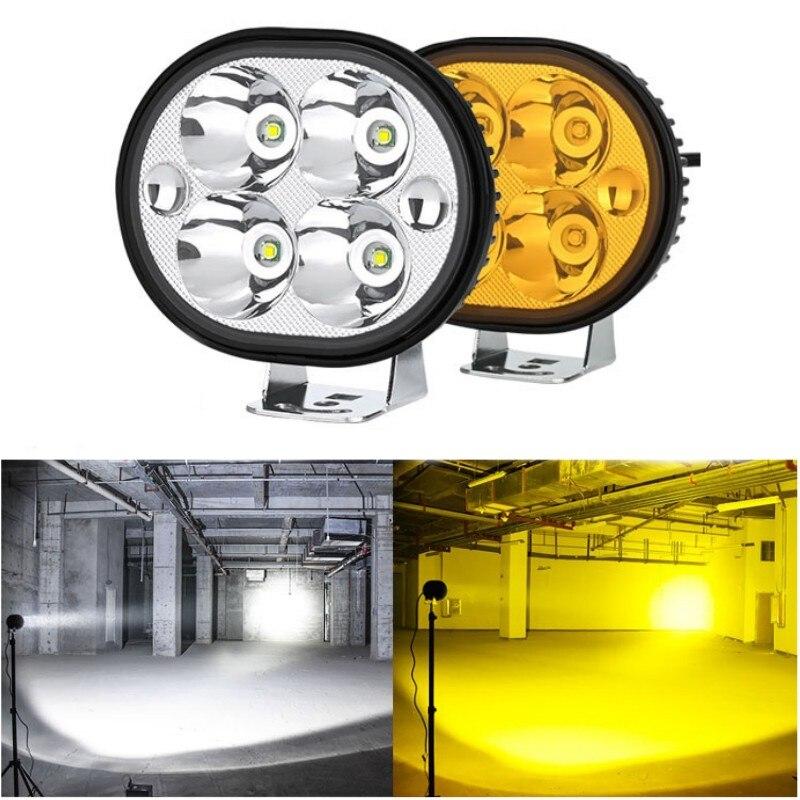 Faro LED redondo 4 leds, 27W, Blanco/ámbar, para parachoques de coche, 4x4 para techo faro delantero, luz antiniebla para conducción, camión todoterreno, luz Led de trabajo SUV