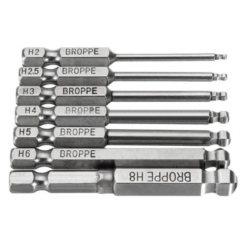 "7pcs S2 Steel 65mm Hex Shank Magnetic Ball Head Screwdriver Bit 2/2.5/3/4/5/6mm Spherical 1/4"" hand tools herramientas"
