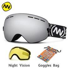 NANDN marque lunettes de ski UV400 anti-buée grand masque de ski lunettes ski hommes femmes neige snowboard lunettes