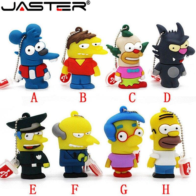 USB флеш-накопитель JASTER из мультфильма Симпсоны Гомер Барт 4 ГБ 8 ГБ 16 ГБ 32 ГБ 64 Гб флэш-накопитель полиция USB флешка, подарок