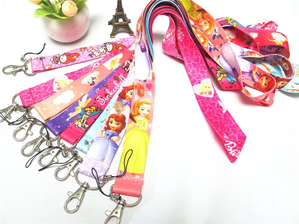 Hensongift niña princesa Sophia Tinkerbell Melody Badge Lanyard para llaves correa de teléfono móvil de dibujos animados para niños