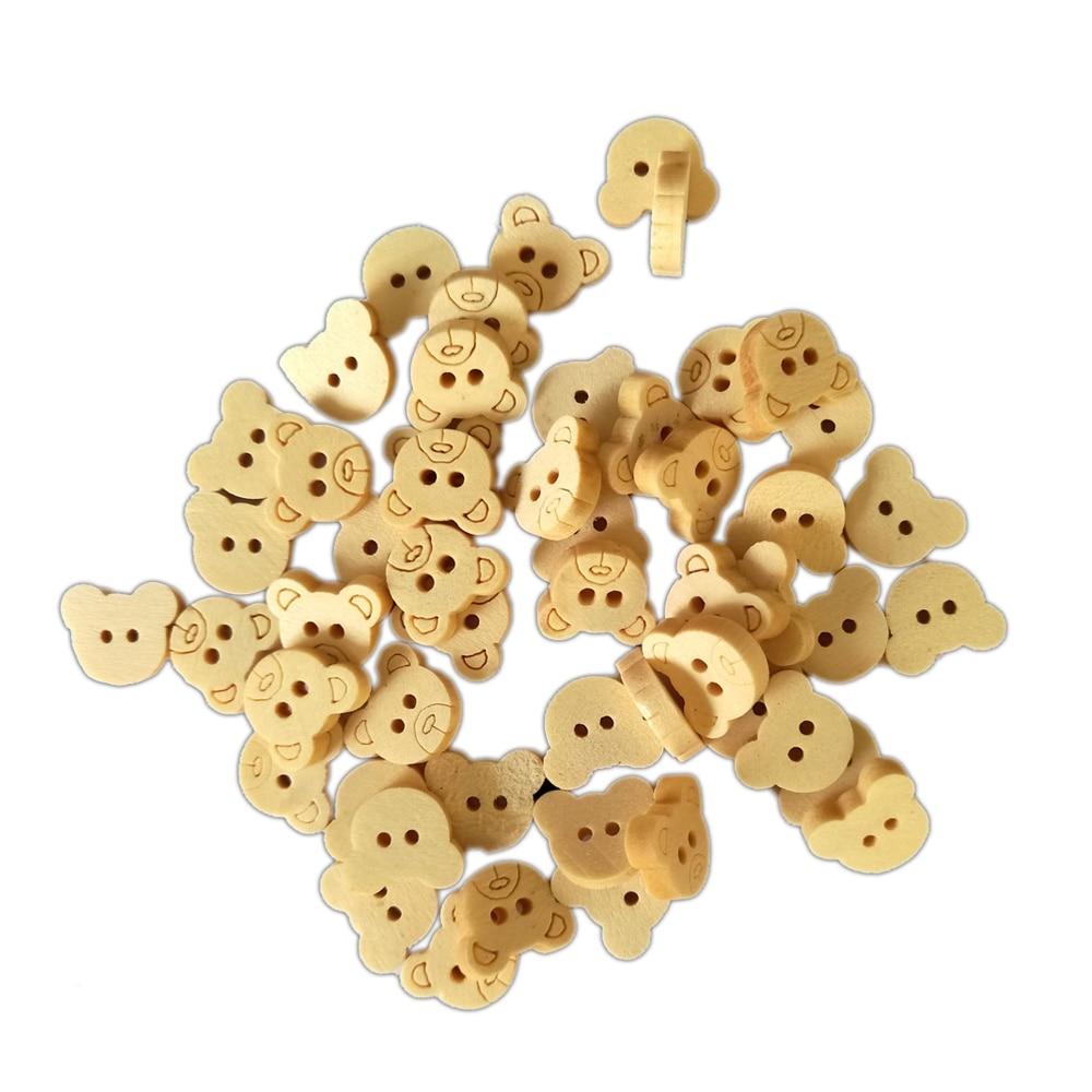 50 Pcs Holz Tasten Cartoon Bär Baby Zeigen Applique DIY Handwerk Nähen Holz Holz Perlen DIY Scrapbooking Handwerk Kleidung Taste