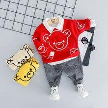 Vêtements pour bébé garçon en coton   Deux pièces, avec ours imprimé, mignon, T-shirt tendance et chaud, vêtements pour bébé fille