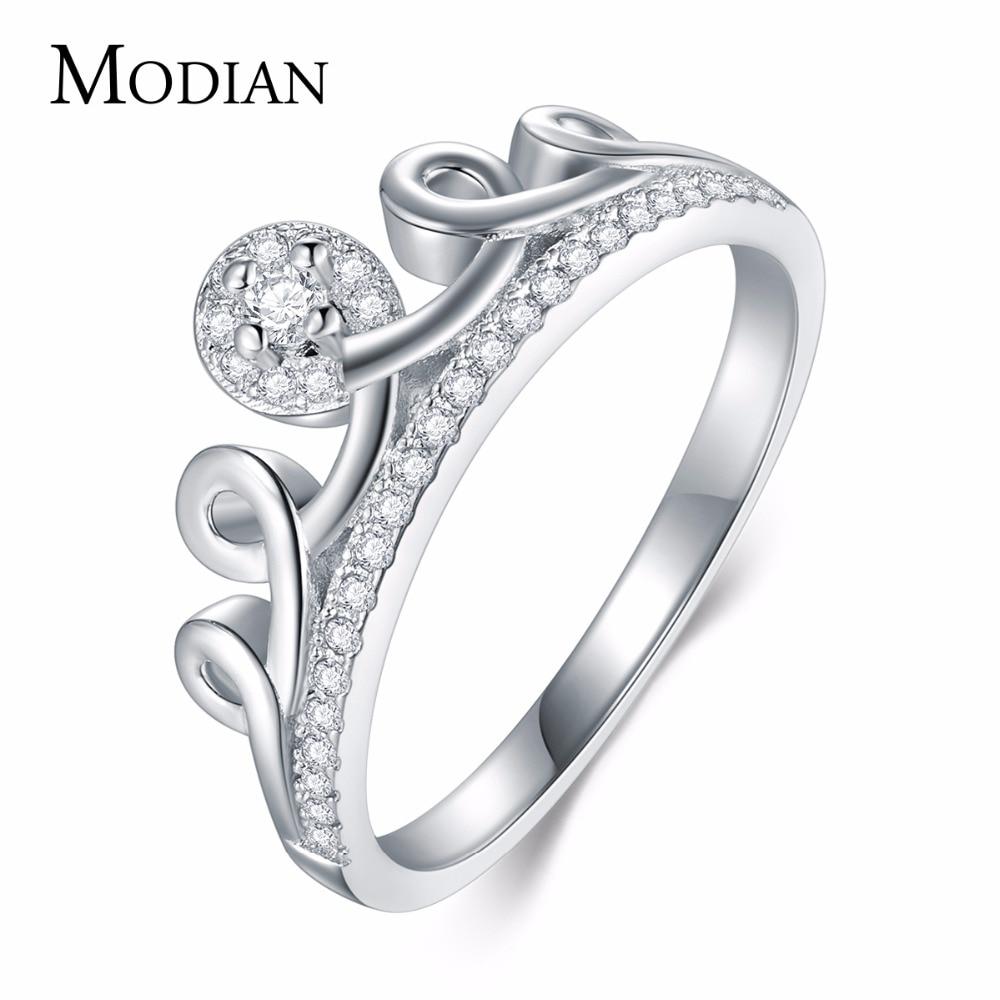 Modian 2019 뜨거운 판매 럭셔리 절묘한 화이트 컬러 CZ Stackable Crown Ring For Women 기념일 선물 패션 파티 쥬얼리 Anel