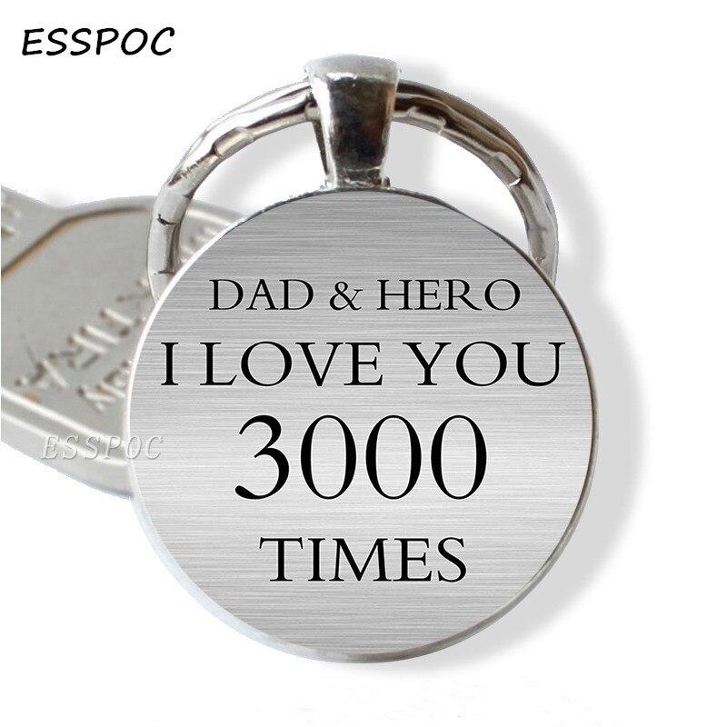 """LLavero de coche padre, llaveros de cristal """"I Love You 3000 Times"""" Para papá y héroe, llaveros de cabujón, regalos para el Día del Padre, hija y esposa"""