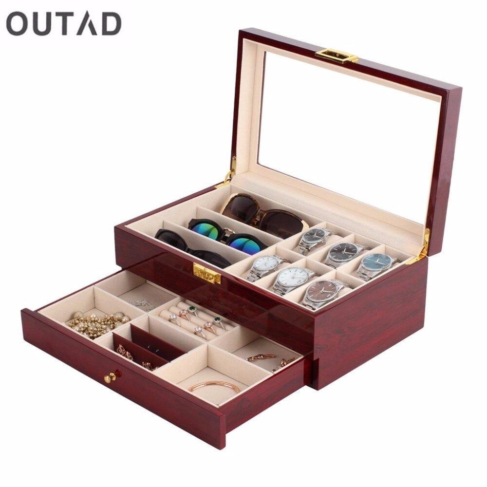 Caja de madera para reloj, doble gamuza de 2 capas, pintura interior exterior, almacenamiento de joyas, caja para exhibir relojes, organizador de contenedores