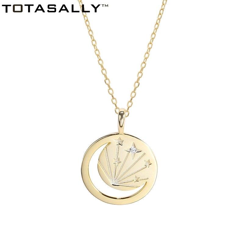 Totasally nueva llegada S925 plata de ley de moda circonita Luna estrellas talladas redondo colgante collar para mujer