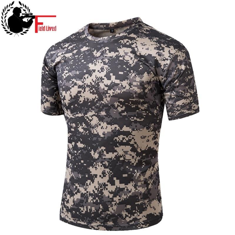 Camiseta camuflada masculina, estilo militar, de secagem rápida, estilo exército, combate, de manga curta