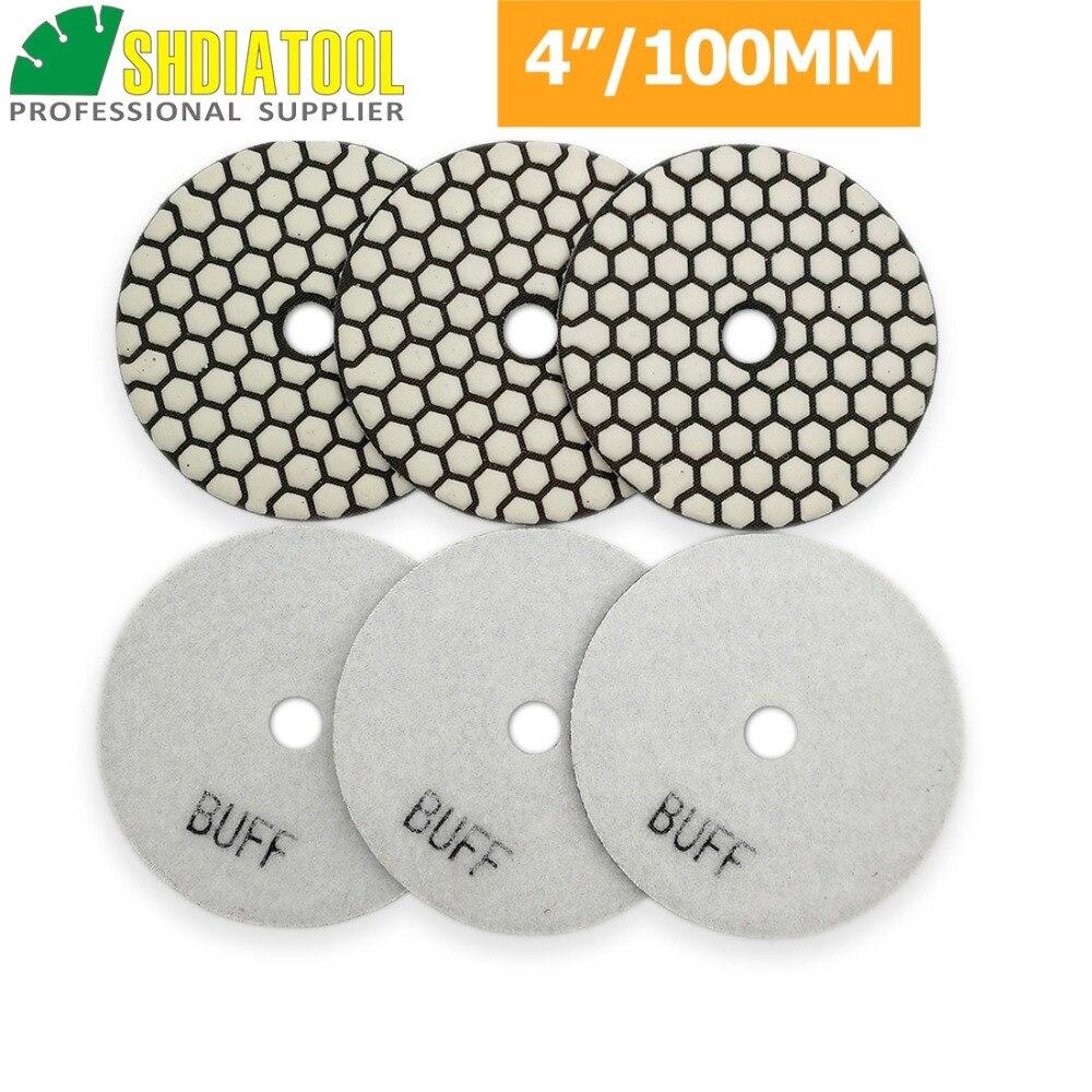 DIATOOL 6 unids/pk 4 inch/100mm Resina Bond Diamante Blanco Buff Tampones Para Pulir Para El Granito De Mármol seco De Piedra Flexible Disco de Lijado