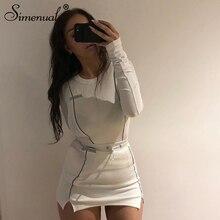 Simenual Casual Mode Reflecterende Gestreepte Tweedelige Outfits Vrouwen Lange Mouw Top En Mini Rok Sets 2020 Wit Bijpassende Set