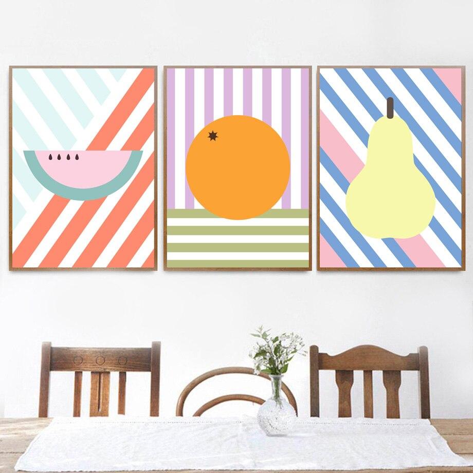 Dibujos Animados sandía naranja pera cuadro sobre lienzo para pared carteles nórdicos e impresiones cuadros de pared para sala de estar Decoración de cocina