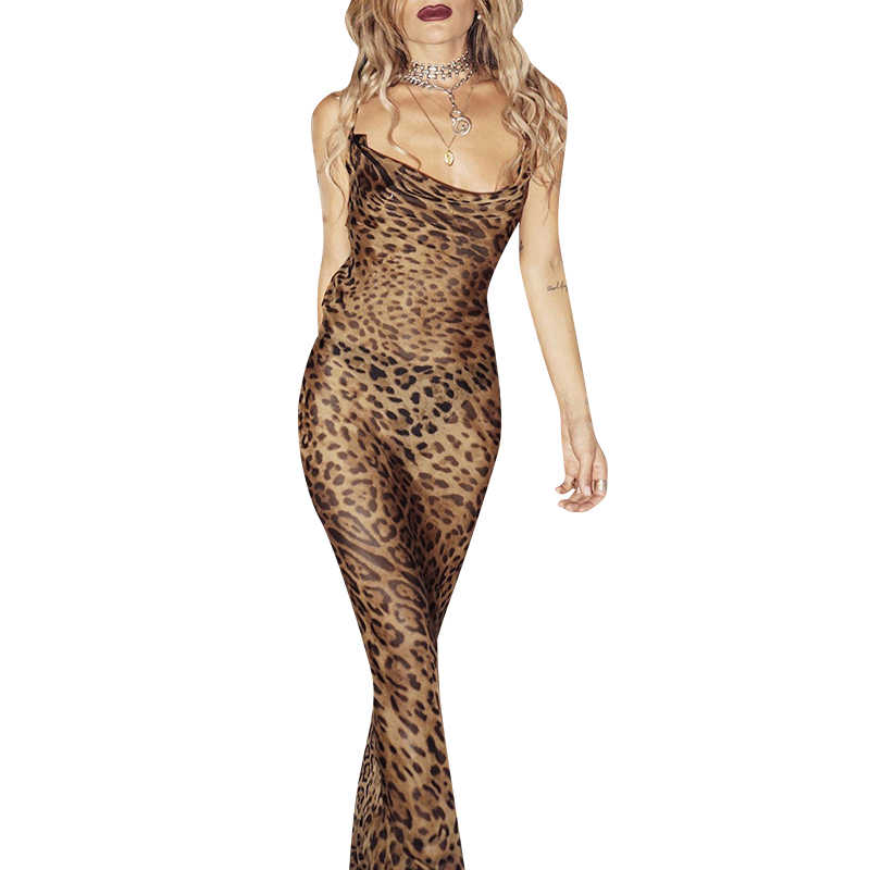 Glamaker floral Dress Glamaker Leopard print sexy maxi bodycon dress Women summer chiffon beach  sundress Elegant vintage club long