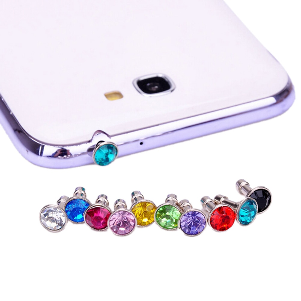 10pcs Universal 3.5mm Cell Phone Earphone Plug For iPhone 6 5s Samsung HTC Sony Headphone Jack Stopper Bling Diamond Dust Plug