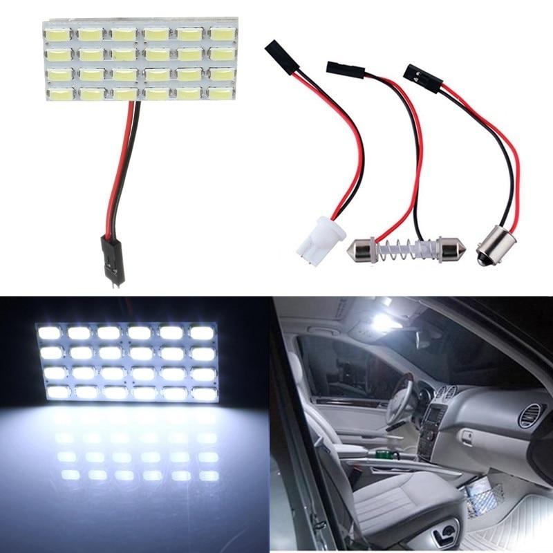 Un juego T10 24 LED 5730 Panel de luz SMD tablero blanco puro coche Interior lectura mapa BA9S festón lámpara bombilla DC12V