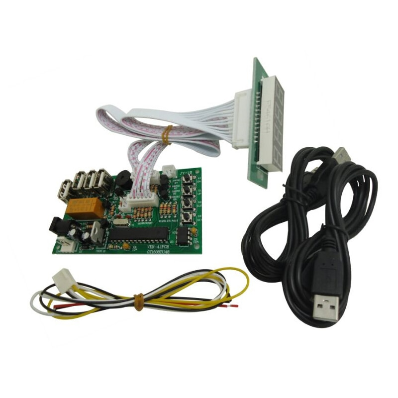 Placa de control de tiempo JY-18B con USB, funciona con monedas, fuente de alimentación para Arcade, receptor de monedas con dispositivo de control USB