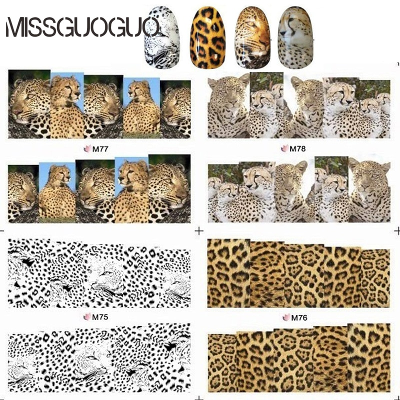 MISSGUOGUO animal Leopard design nail art sticker leopard print water decals full cover stickers for nails accessories wraps