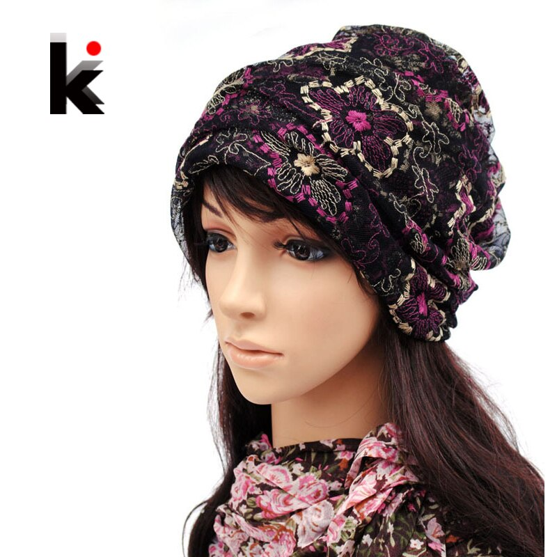 Beanie primavera y otoño mujer Skullies mercerizing Lace pullover can cross hair hat turbante beanie sombreros para mujeres