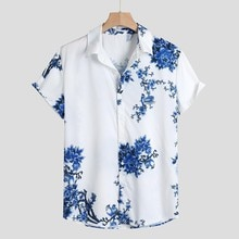 Chemises pour hommes, manches courtes, col rabattu, ample à ourlet rond, haut de plage, ample, été 2019