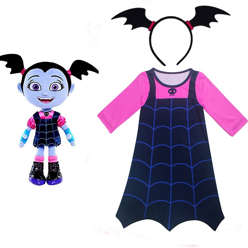 Junior Vampirina Die Vamp Batwoman Mädchen kleider moana cosplay Kostüm für gril mit haarband party geburtstag halloween Vestidos