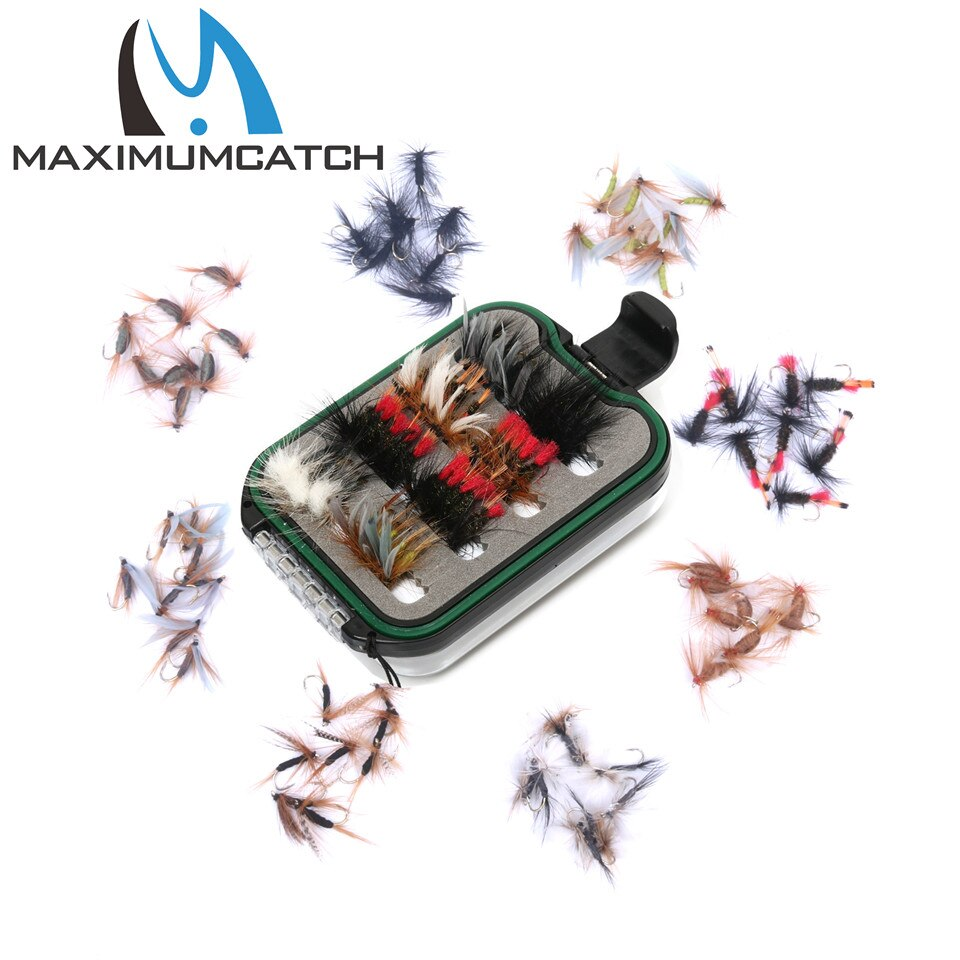 Caja de pesca máxima captura con mosca con 60 uds. Anzuelos de mosca de pesca impermeable de plástico doble cordón lateral