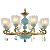 Modern Copper Crystal Chandelier style living room chandeliers American retro Mediterranean Chandelier Ceiling dining room lamp