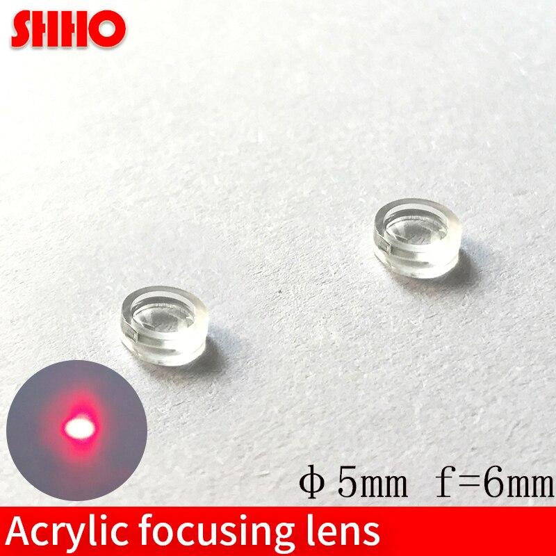 Lente de enfoque acrílico diámetro 5mm material PMMA longitud focal 6mm diámetro pequeño lente láser lentes ópticas lente de plástico