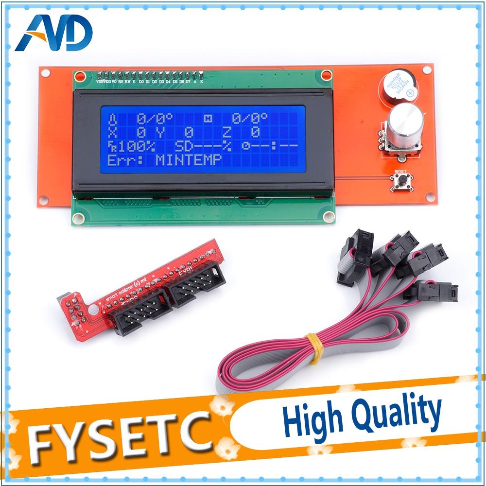 Livraison gratuite 3D imprimante pièces LCD affichage 3D imprimante contrôleur intelligent rampes 1.4 2004LCD contrôle