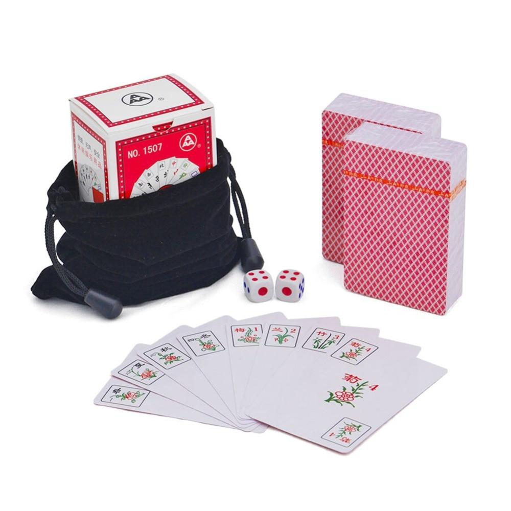 MQUPIN impermeable de plástico grueso mini viaje portátil mahjong solitaire Mahjong naipes con dos dados bolsa de terciopelo