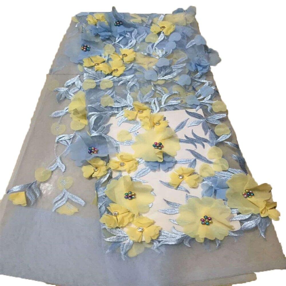 Tissu de dentelle à fleurs 3D français   Avec perles et pierres, style nigérian, dentelle perlée 3D, pour robe unique, dernière collection,
