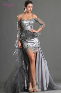 Gray Evening Dresses Sheath Spaghetti Straps Tulle Lace Beaded Long Formal Party Evening Gown Prom Dresses Robe De Soiree