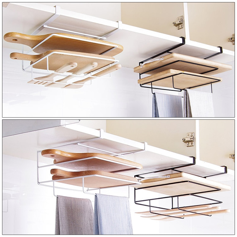 Household Hanging Basket Kitchen Cabinet Wrought Iron Towel Rack Socket Storage Rack Plug Line Manager Bracket Power Cord Rack