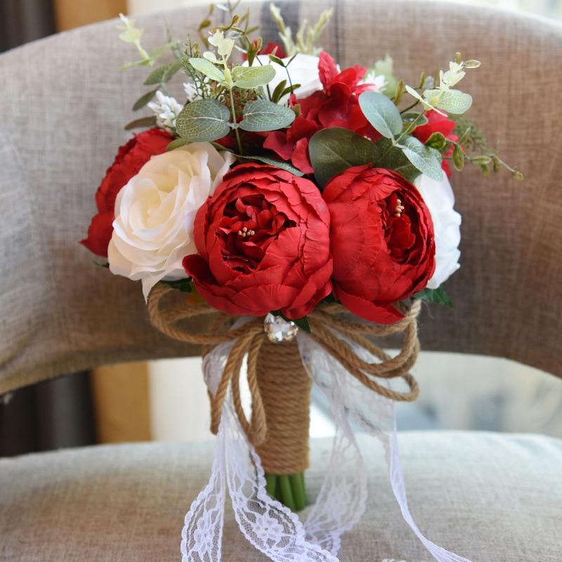 Ramos de Novia hechos a mano de encaje Artificial ramo de boda multicolor flores ramo de rosas de Novia para boda