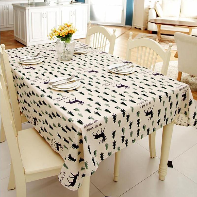 Mantel Simple de poliéster de algodón de imitación de lino con estampado navideño de pino y ciervo cubierta de la mesa de café YYJ704 para el hogar