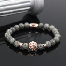 PINIYA nouvelle mode Vintage or Rose couleur Lion tête et Tube charme naturel 8MM marbre pierre perle Bracelet bijoux hommes femmes cadeau