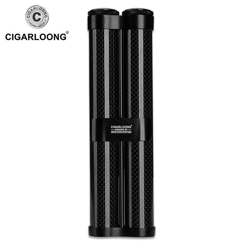 carbon fiber cigar cutter Cigarette Windproof Lighter Torch Jet butane gas Cigar Lighters tube case Gift Set CQ-B1001 enlarge