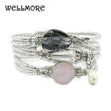 WELLMORE Lederen armband crystal, Zoetwater parel Bohemian charm armbanden voor vrouwen sieraden groothandel dropshipping