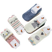 Fashion 5 Pairs Women Cute Girls Socks 3D Ear Cartoon Animal Zoo Cotton Soft Sox Creative Kawaii Funny Socks Lady Art Sock Meias